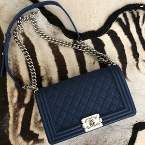 Authentic Chanel Quilted Boy Flapbag Navy Blue